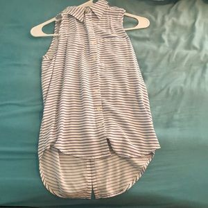 Collared Button Up Tank Top Striped